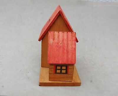 "Japan Made Wood House Bank Toy Hand Made Vintage 4 1/2""x 4 1/2 Twist Open Bottom 5"