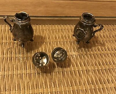 SMALL SALT PEPPER SHAKERS TINY MINI Feet & Handles STERLING SILVER ANTIQUE 2""