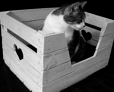 KATZENKORB + KISSEN Katze Hund Tierbett Holzkiste ALTE OBSTKISTE Vintage Shabby 3