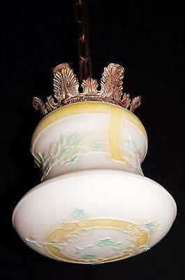Deco Era Antique Pendant Swag Glass Shade Slip Ceiling Light Fixture Chandelier 3