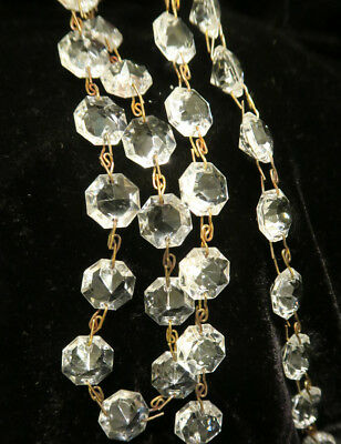 """35"""" vintage ITALY Crystal Glass Prism chain Lamp Chandelier sconce Part brass 9"""