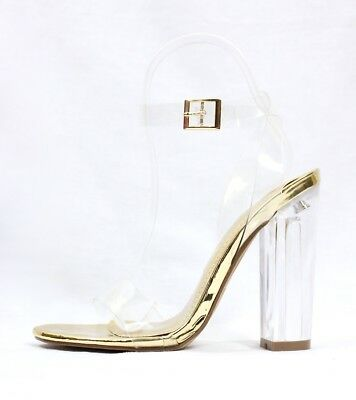 93b46ccb7ba SHOE REPUBLIC MAZZ Strappy Chunky Block Chunky Clear Lucite Perspex Heel  Sandals