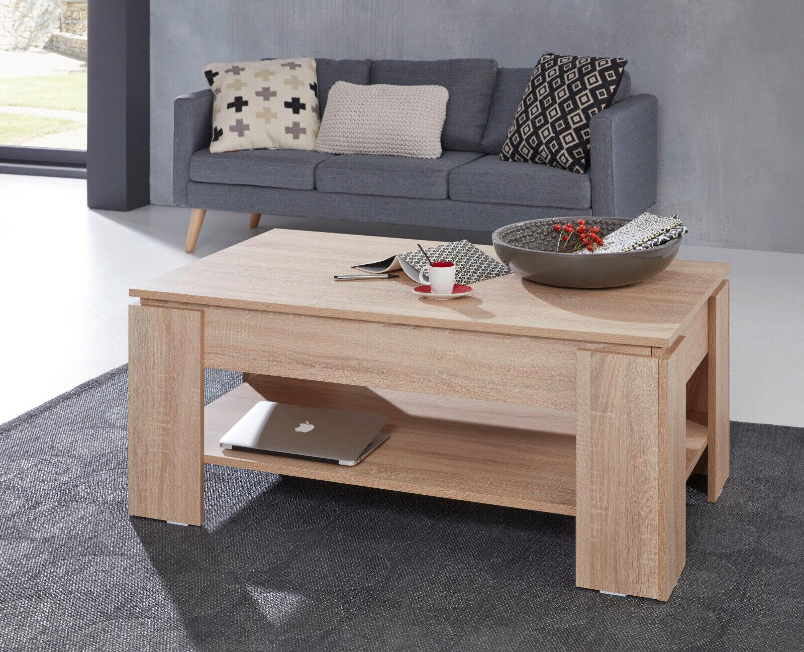 Couchtisch Wohnzimmer Tisch Klappbar Mit Esstisch Funktion Eiche Sonoma Stauraum Eur 129 99 Picclick De