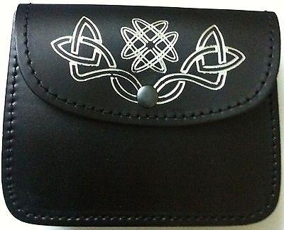 Nero Cintura Kilt Borsello Celtic Decorato Silver100% vera pelle sporran/ 2