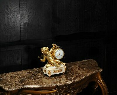 ORMOLU & WHITE MARBLE ANTIQUE FRENCH CLOCK PUTTO in CLOUDS PLAYING a DRUM C1880 9
