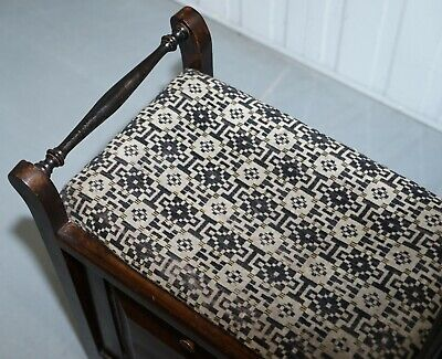 Victorian Mahogany Piano Stool Bauhaus Upholstery Internal Music Storage Drawer 5