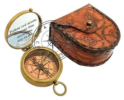 5 Pieces Engraved Brass Compass Maritime Antique Pocket Gift With Leather Case 2