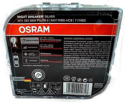 H11 OSRAM Night Breaker SILVER Halogen Scheinwerfer Lampe NEU
