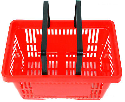 2 Handle Red Plastic Shopping Basket Retail Supermarket Use Hand Carry 4