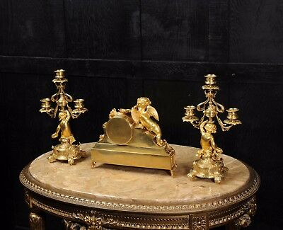 Japy Freres ~ Early French Ormolu And Sevres Porcelain Clock Set C1850 ~ Cherubs 10