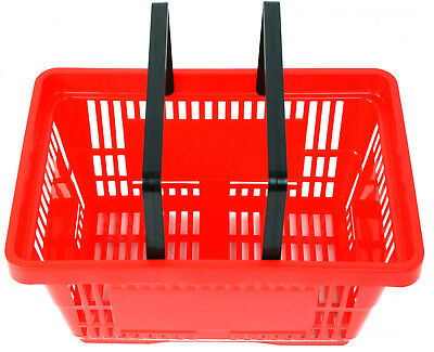 Pack of 20 x 2 Handle Red Plastic Shopping Basket Retail Supermarket Use 3