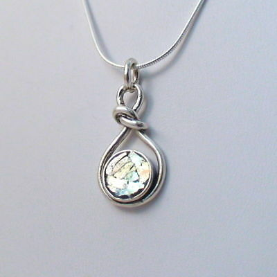 Ancient Roman Glass Infinity Knot Necklace -925 Sterling Silver- Love Patina SN 3