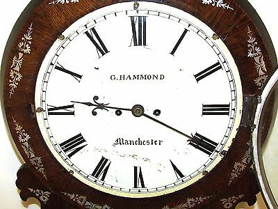 Antique ROSEWOOD & Mother of Pearl TWIN Fusee Drop Dial Clock HAMMON MANCHESTER 7