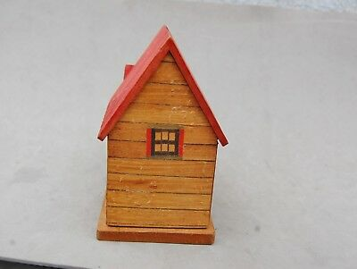 "Japan Made Wood House Bank Toy Hand Made Vintage 4 1/2""x 4 1/2 Twist Open Bottom 7"