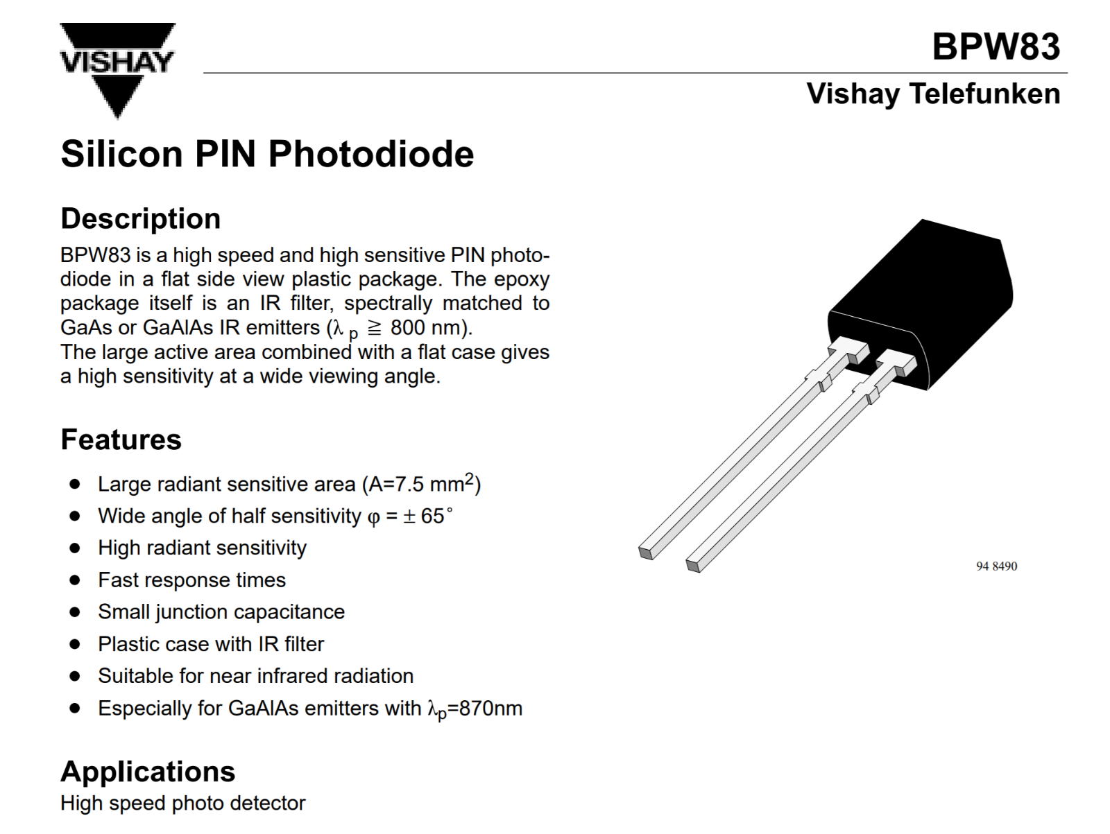 250Pcs x BPW83 Pin Photodiodes 3