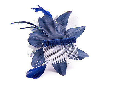Navy Blue Feather Comb Fascinator Wedding Races Proms Bridal Hair Accessory 3 3