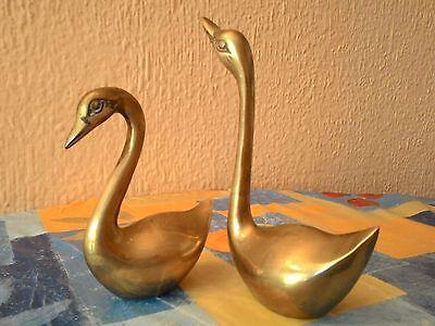 Pareja De Cisnes De Laton Vintage - Años 70 5