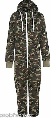 Kids Army Camo Print Onésie Hooded Jumpsuit All In One Boys Fleece Sizes 2-14Yrs