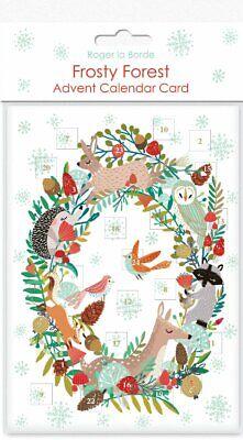 Adventskalender Frosty Forest Wreath Karte mit Kuvert 17x12cm Goldprägung XMAS