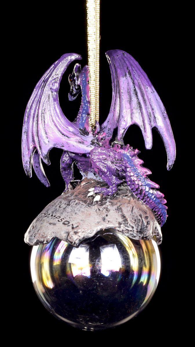 Weihnachten Mit Fantasy.Kugel Weihnachten Deko Fantasy Drachen Christbaum Schmuck Hoarfrost Lila