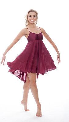 Donne Ragazze Bordeaux Lirico Abito Contemporaneo Balletto Danza Costume Da Katz 2
