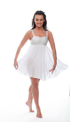 Bianco Luccicanti Paillettes Corto Lirico Abito Contemporaneo Balletto Danza 4