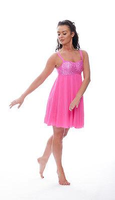 Rosa Acceso Lustrini Corto Lirico Abito Contemporaneo Balletto Danza Costume 5