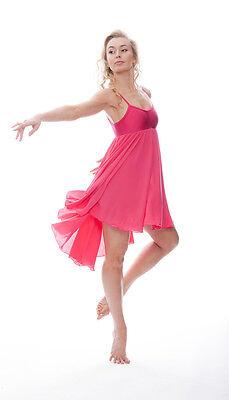 Donne Ragazze Fucsia Peonia Lirico Abito Contemporaneo Balletto Danza Costume 3