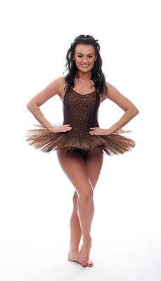 Marrone Cioccolato Luccicanti Paillettes Danza Tutina Da Balletto Tutu Bambino