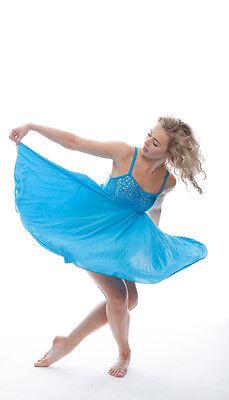 Blu Turchese Lustrini Corto Lirico Abito Contemporaneo Balletto Danza Costume 4
