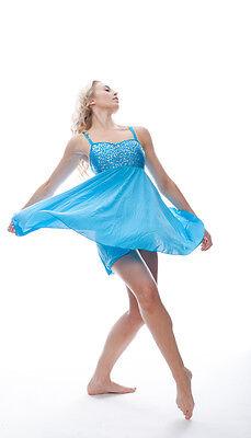 Blu Turchese Lustrini Corto Lirico Abito Contemporaneo Balletto Danza Costume 5