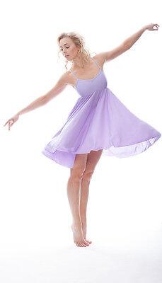 Donne Ragazze Lilla Tinta Unita Lirico Abito Contemporaneo Balletto Danza 2