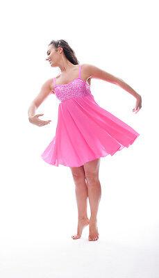 Rosa Acceso Lustrini Corto Lirico Abito Contemporaneo Balletto Danza Costume 6