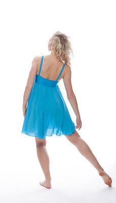 Blu Turchese Lustrini Corto Lirico Abito Contemporaneo Balletto Danza Costume 2