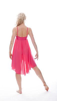 Donne Ragazze Fucsia Peonia Lirico Abito Contemporaneo Balletto Danza Costume 6
