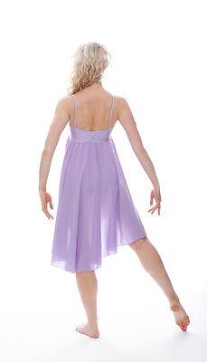 Donne Ragazze Lilla Tinta Unita Lirico Abito Contemporaneo Balletto Danza 7