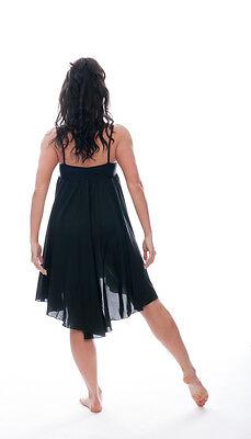 Ladies Girls Black Plain Lyrical Dress Contemporary Ballet Dance Costume By Katz 5