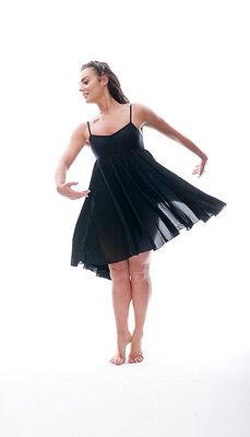 Ladies Girls Black Plain Lyrical Dress Contemporary Ballet Dance Costume By Katz 4