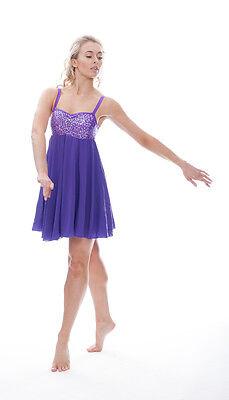 Viola Luccicanti Paillettes Corto Lirico Abito Contemporaneo Balletto Danza 5 • EUR 27,49