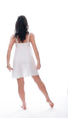 Bianco Luccicanti Paillettes Corto Lirico Abito Contemporaneo Balletto Danza 3