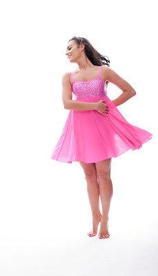 Rosa Acceso Lustrini Corto Lirico Abito Contemporaneo Balletto Danza Costume 8