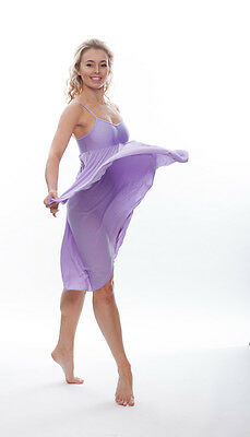 Donne Ragazze Lilla Tinta Unita Lirico Abito Contemporaneo Balletto Danza 9