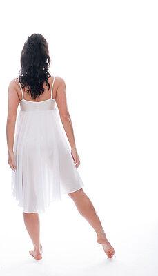 Donne Ragazze Bianco Tinta Unita Lirico Abito Contemporaneo Balletto Danza 3
