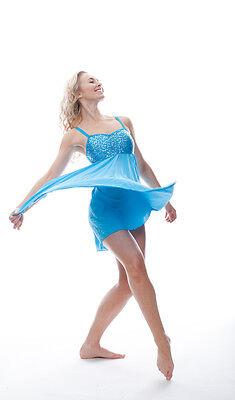 Blu Turchese Lustrini Corto Lirico Abito Contemporaneo Balletto Danza Costume 6
