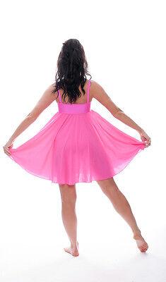 Rosa Acceso Lustrini Corto Lirico Abito Contemporaneo Balletto Danza Costume 4