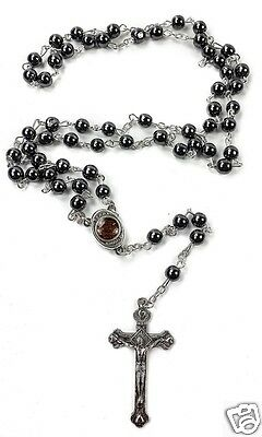 Hematite Rosary Black Stone Beads Necklace Jerusalem Holy Soil Cross Crucifix 5