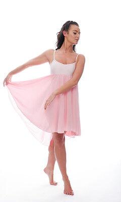 Donne Ragazze Rosa Pallido Lirico Abito Contemporaneo Balletto Danza Costume 6