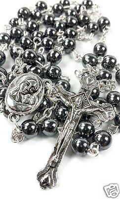 Hematite Rosary Black Stone Beads Necklace Jerusalem Holy Soil Cross Crucifix 3