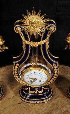 Fine Cobalt Blue Ormolu Louis Xvi Lyre Clock Set Mystery Jewelled Pendulum Bezel 9