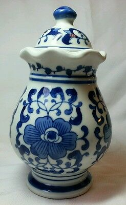 Vase with Lid Blue and White Design, Made in China 8.5 Inches Tall